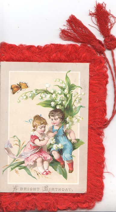 A BRIGHT BIRTHDAY below fantasy small boy & girl sitting on leaf of lily-ot-the-valley