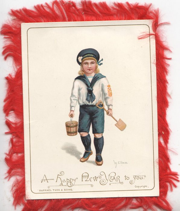A HAPPY NEW YEAR TO YOU child in blue and white sailor suit carrying shovel and pail