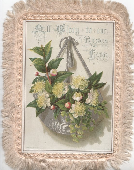 ALL GLORY TO OUR RISEN LORD lilies in silver over silver bowl hanging by silver ribbons