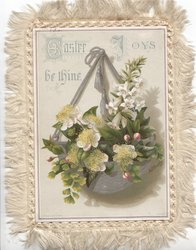 EASTER JOYS BE THINE  lilies in silver over silver bowl hanging by silver ribbons