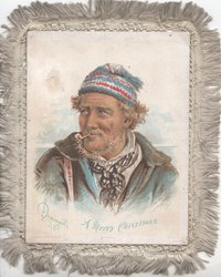 A MERRY CHRISTMAS in blue below head & shoulder study of man smoking pipe, sea behind