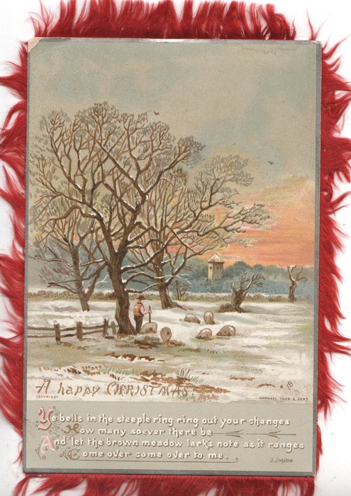 A HAPPY CHRISTMASTIDE inset winter evening rural scene sheep & snow, verse see below