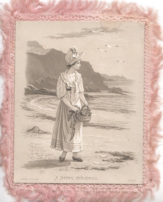 A HAPPY CHRISTMAS girl in old style dress walks on shore carrying a basket of seaweed