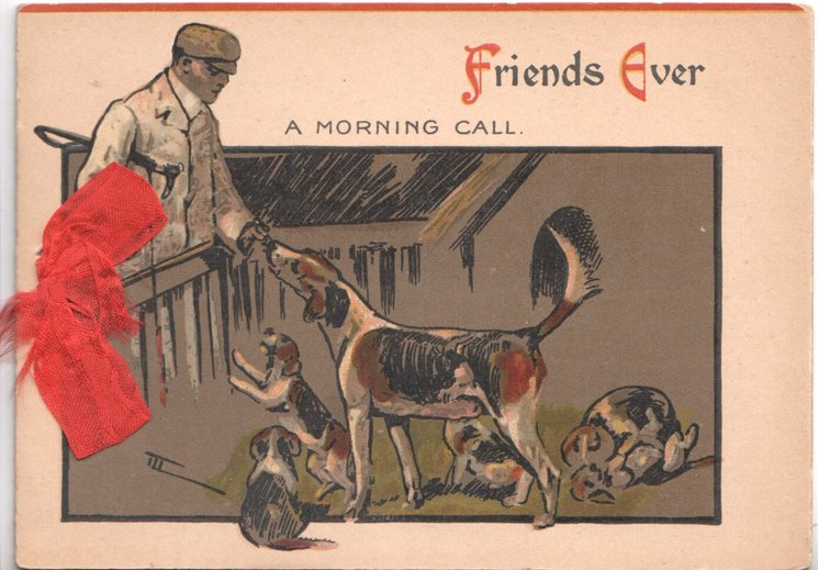 FRIENDS EVER(F & E illuminated) hunstman greets foxhounds