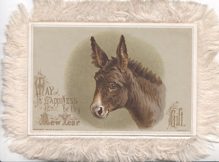A JOYFUL NEW YEAR head of white donkey facing left