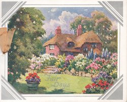 FAIR DAYS in gilt over lawn below flower beds & thatched house