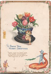 TO BRING YOU MERRY GREETINS below bowl tulips, white elf sits below, blue elf rides a fish,marginal  design