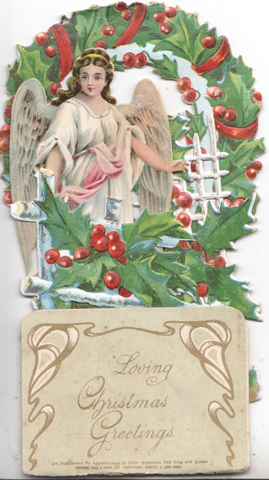 LOVING CHRISTMAS GREETINGS on olive 8.5 x 6 cm. footplate with more greetings hidden behind