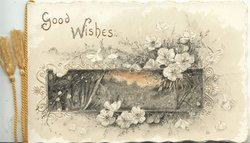 GOOD WISHES(G & W glittered) roud oblong rural inset, lilies & foliage around