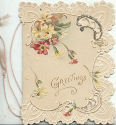 GREETINGS below on cream background, purple & white anemones above, elaborate marginal perforated design
