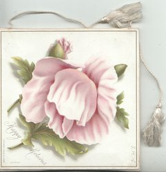 HAPPY RETURNS below right,. pink peony, 2 tassels for hanging but no fringes