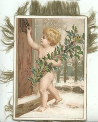 nude boy on doorstep delivering leafy holly in snow