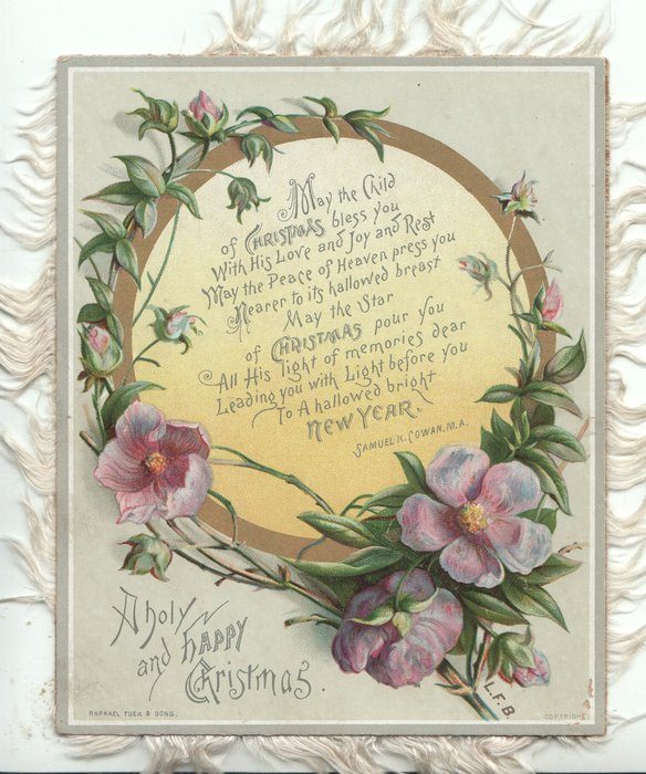 A HOLY AND HAPPY CHRISTMAS below circular gilt  inset with 11 line verse, intertwined by purple pansies