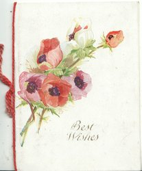 BEST WISHES in gilt below right, red & purple anemones above
