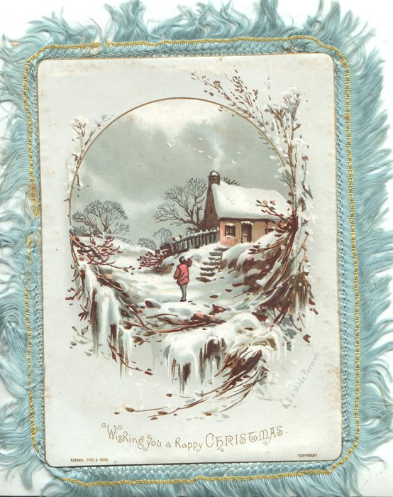 WISHING YOU A HAPPY CHISTMAS person stands facing away in snowy rural landscape