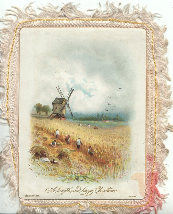 A BRIGHT AND HAPPY CHRISTMAS harvest in progress, windmill behind, white clouds in blue sky