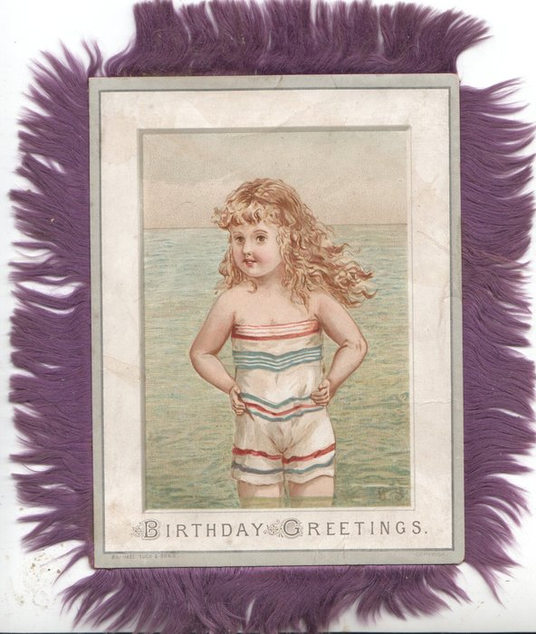 BIRTHDAY GREETINGS young girl in bathing costume stands in sea, hands on hips