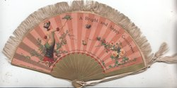 A BRIGHT AND HAPPY CHRISTMAS across fan shaped ornament, woman catches bird, roses around