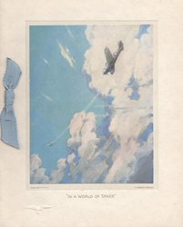 """""""IN A WORLD OF SPACE"""" aerial dog-fight in pale blue sky with white clouds"""