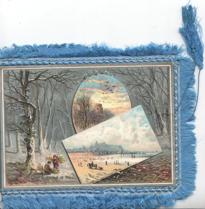 A HAPPY CHRISTMAS TO YOU below couple gathering holly in snowy wood ,oval & oblong inset views right