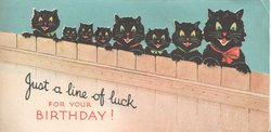 JUST A LINE OF LUCK in black FOR YOUR BIRTHDAY in red 8 cats look over fence all with red tongues  & blue eyes