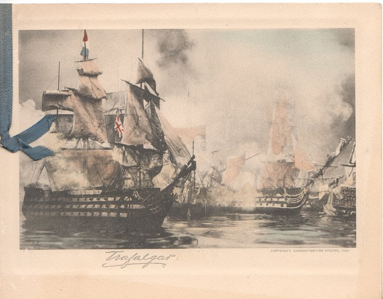 TRAFALGAR view of the battle with guns firing in black & white