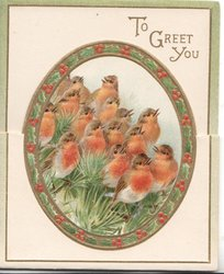 TO GREET YOU 15 robins perched one evergreen in gilt red & gilt oval design