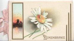 REMEMBRANCE below white daisy with yelow centre, evening chuch view inset left