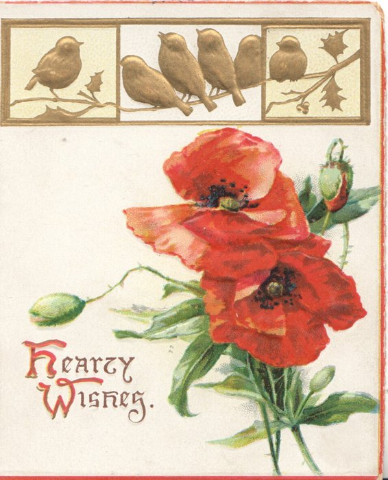 HEARTY WISHES(H& W illuminated) below left, 2 red poppies & 2 buds below 6 gilt birds in design