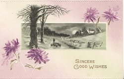 SINCERE GOOD WISHES(S in gilt below rural inset & 4 purple daisies