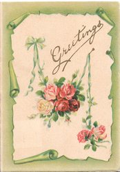 GREETINGS in gilt above 6 red & 1 yellow roses on cream plaque, olive margins
