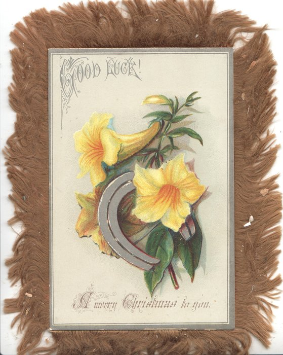 GOOD LUCK at top A MERRY CHRISTMAS TO YOU below, yellow water lilies & silver horseshoe between
