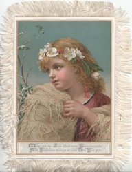 MAY MERRY JOYS ATTEND YOUR CHRISTMASTIDE verse , head & shoulders of pretty young girl holding towel, facing left
