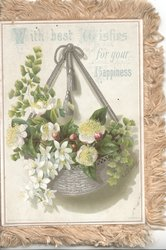 first panel WITH BEST WISHES FOR YOUR HAPPINESS  lilies in silver bowl hanging by silver ribbons