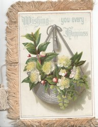 WISHING YOU EVERY HAPPINESS lilies in silver over silver bowl hanging by silver ribbons