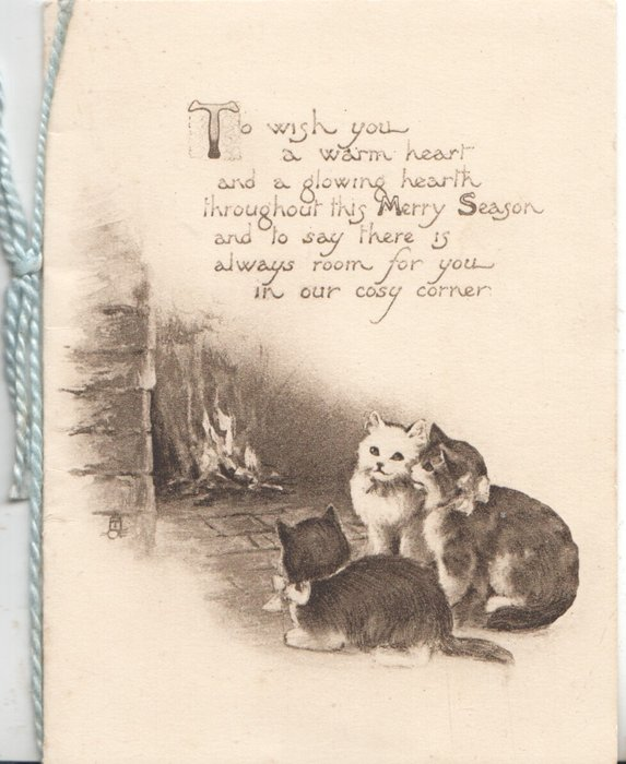 TO WISH YOU A WARM HEART AND A GLOWING HEARTH verse 3 cats in front of blazing fire