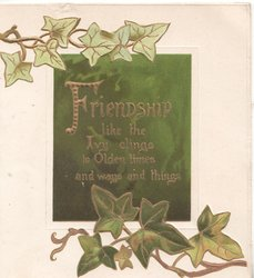 FRIENDSHIP LIKE THE IVY CLINGS TO OLDEN TIMES AND WAYS AND THINGS in gilt on green plaque with  ivy above & below