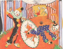 no front title, mechanical perforated circus scene, clown holds hoop for another to dive through