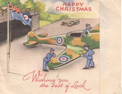 HAPPY CHRISTMAS in red at top over airforce plane  on tarmac & air-men, WISHING YOU THE BEST OF LUCK in red at base