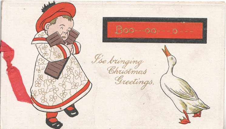 BOO-OO--O---on red black borderd plaque above goose that has frightened girl who is clutching presents, verse