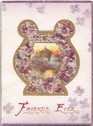 FRIENDS EVER (F & E illuminated) in gilt, purple pansies around & in design on gilt jug