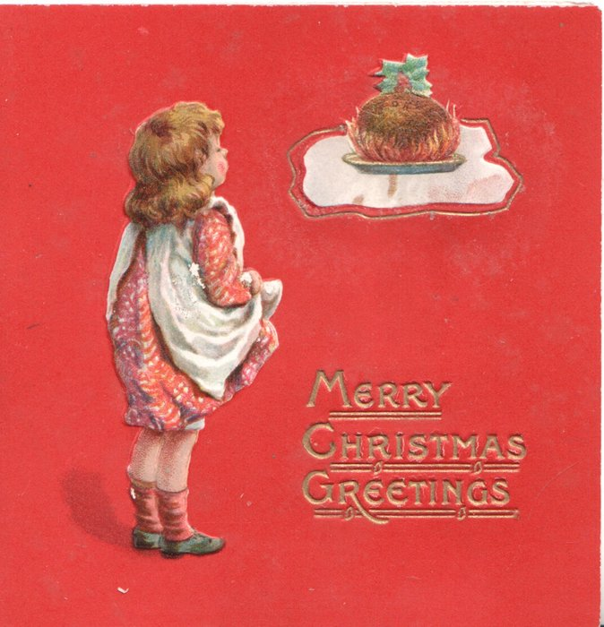 MANY CHRISTMAS GREETINGS in gilt, girl stands looking up at cake top right