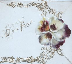 DINNAH -FORGET to left on on white plaque, purple pansy & design right