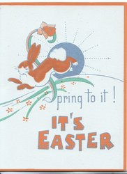 SPRING TO IT! IT'S EASTER rabbit dances in front of silver sun
