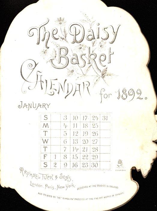 CALENDAR FOR 1892 basket of daisies