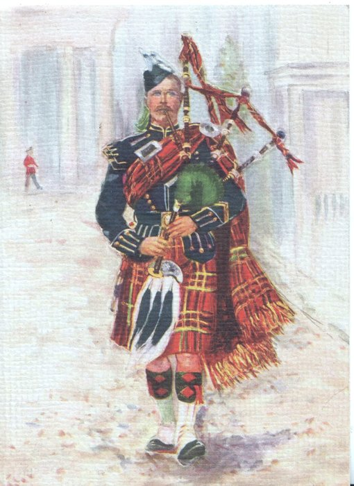 no front title, uniformed Scottish milirary piper playing & marching front