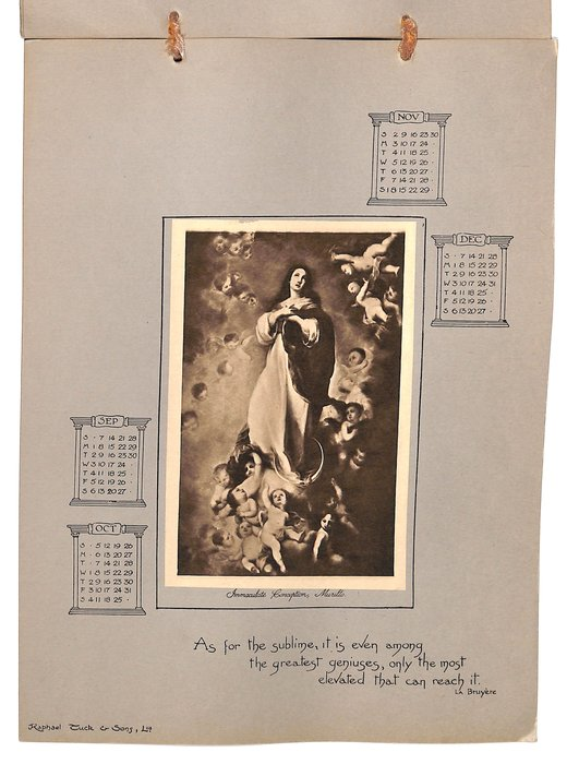 SACRED PICTURES CALENDAR FOR 1902