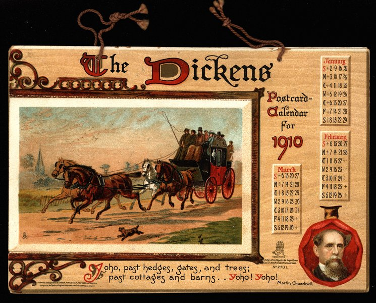 THE DICKENS POSTCARD CALENDAR FOR 1910