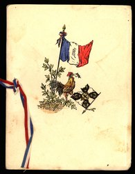 rooster stands before a French flag and is pecking up the previous flag