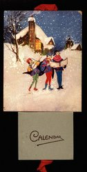 three carolers in a snowy scene